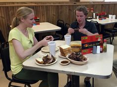 Diving into lunch at Sims BBQ, a great place for ribs in Little Rock, Arkansas. #travel #BBQ #food #yum