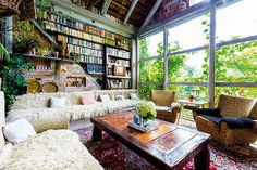 large windows and books! Large Windows, Bed, Furniture, Interiors, Home Decor, Books, House, Decoration Home, Libros