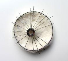 Sandra Llusà - Brooch CADÁVER IV (2014) Cotton thread, felt, nickel silver, brass, silver