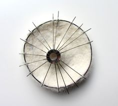 Sandra Llusà - Brooch CADÁVER IV (2014) Cotton thread, felt, nickel silver, brass, silver