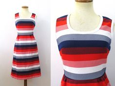 1970s Sundress Red White Blue Striped Dress High by fluffie