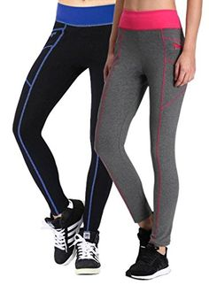 Neonysweets Womens Legging Sports Workout Tights Running Yoga Pants Blue Gray XL * Read more at the affiliate link Amazon.com on image.