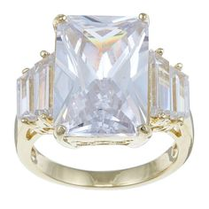 Palm Beach Jewelry PalmBeach 29.95 TCW Emerald-Cut Cubic Zirconia 18k Gold over Sterling Silver Ring Glam CZ
