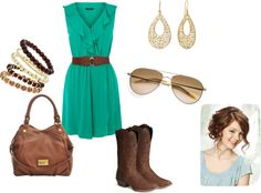 """@Lauren Davison King  made me think of you lol the teal and cowboy boots! . """"Dressy Casual Cowgirl outfit"""" by ejt1619 on Polyvore"""