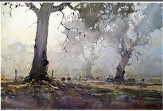 Joseph Zbukvic painting at EPC Art Courses Art Aquarelle, Watercolor Trees, Watercolor Artists, Watercolor Landscape, Watercolor And Ink, Landscape Art, Landscape Paintings, Watercolor Paintings, Watercolours