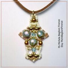Diy Schema CIONDOLO CROSS Pendant Pdf ITA tessitura di perline con Candy Beads 6 mm, Bicono 4 mm, Superduo, Perle 4 mm, Toho rocailles 15 11 di MichiBaglioniFirenze su Etsy