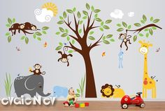 """Design your room, hallway, classroom, gym, reading corner with large bright all favorite Monkeys hanging on a tree, elephants, sleeping lion, giraffe and birds: 146""""w x 90""""h. Comes with test decal. Removable. Just peel and stick! Free test decal is included."""