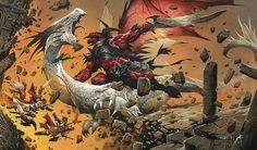 A decidedly dramatic painting of a crimson demon, wielding a titanic sword slashing at a baying white dragon; in the midst of the carnage, some adventurers-- two women and a man-- fall through the rubble of the building the falling dragon shattered, tumbling into an abyss below