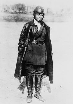 Bessie Coleman, the first female African American civil aviator, received her international pilot's license in France in 1921, because no one in the United States was willing to teach a black woman to fly (1926)