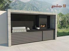 Modern Outdoor Kitchen, Patio Kitchen, Casa Patio, Backyard Patio, Parrilla Exterior, Bbq Shed, Built In Braai, Barbecue Design, Outdoor Barbeque