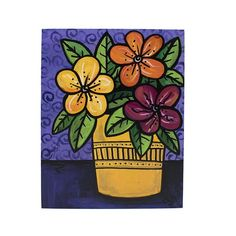Happy Flowers Painting - Colorful Floral Art - Purple and Yellow Acrylic Original Painting by Claudine Intner Happy Flowers, Colorful Flowers, Original Art, Original Paintings, Handmade Stamps, Floral Artwork, Purple Backgrounds, Paint Markers, Mark Making