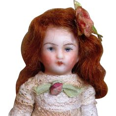 """Sweet 3 1/2"""" All Bisque Antique German Miniature Dollhouse doll"""