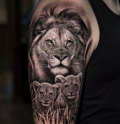 Dark Age Tattoo Studio : Tattoos : Half-Sleeve : Black and Grey Realistic Lion a. - Dark Age Tattoo Studio : Tattoos : Half-Sleeve : Black and Grey Realistic Lion and Cubs Tattoo - Lioness And Cub Tattoo, Lion Cub Tattoo, Cubs Tattoo, Lion Head Tattoos, Mens Lion Tattoo, Lion Tattoo Design, Baby Tattoos, Wolf Tattoos, Tattoo Designs