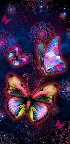 By Artist Unknown. Dragonfly Wallpaper, Purple Flowers Wallpaper, Pretty Phone Wallpaper, Butterfly Wallpaper Iphone, Cute Wallpaper Backgrounds, Cellphone Wallpaper, Pretty Wallpapers, Galaxy Wallpaper, Butterfly Painting
