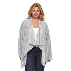 Plus Size Dana Buchman Striped Open-Front Cardigan, Women's, Size: 1XL, Med Grey