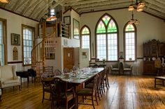 Farm to Table Cooking In PEI - The communal table in the beautifully redone New London Church! Pei Canada, Communal Table, New London, Prince Edward Island, Cooking Classes, My Dream Home, Summertime, Rooms, Mansions