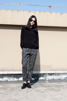 shades + sweater + pants + brogoues: (androgynous), effortlessly chic