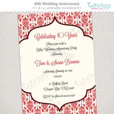 #40th-Anniversary #Invitation Ruby Anniversary Printable Invitation by whirligigspartyco