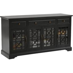 Perfect as an entryway focal point or stand for your television, this media console showcases lattice-over-glass doors and a distressed black finish for eye-...