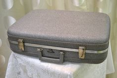 "c1950 Vintage ""McBrine"" Slate Grey Hardcase Suitcase / Luggage with Lovely Pink Interior - Comes with Working Key - 22"" x 16"" x 6"" - Perfect to store old photos, crafting projects or use as intended!"
