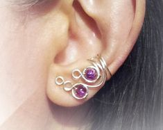 Beautiful pink and silver ear cuff wire by crochetconection