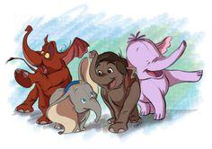 Disney Elephants-  Tantor(Tarzan)  Dumbo  Junior(Jungle Book)  Lumpy(Winnie the Pooh Heffalump Movie)