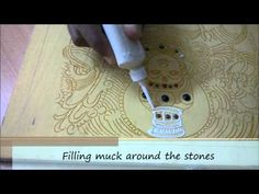Muck consistency & application of muck in Thanjavur paintings Gond Painting, Kerala Mural Painting, Tanjore Painting, Krishna Painting, Krishna Drawing, Step By Step Painting, Step By Step Drawing, Texture Painting, Fabric Painting