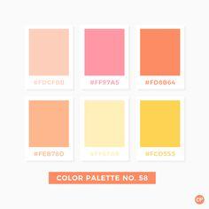 Color Palette No. 58 - - girl's' room? Pastel Colour Palette, Colour Pallette, Color Palate, Colour Schemes, Color Combos, Color Patterns, Orange Color Palettes, Pastel Colours, Warm Colors