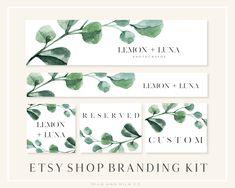 Watercolour Greenery Etsy Shop Banner Set Etsy Shop Template | Etsy Branding Template, Branding Kit, Branding Design, Sea Logo, Computer Love, Social Media Banner, Custom Logo Design, Banner Design, Greenery