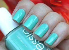 I'm wearing blue green pastel nail polish today.  It's so spring!
