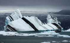From the Arctic Circle to Antarctica in the south, the stripes in these icebergs are formed by frozen melt water, sediment and even algae combined with huge pressures. I Love Snow, Natural Phenomena, Green Stripes, Natural World, Architecture Art, The Good Place, Nature Photography, Winter Photography, Earth