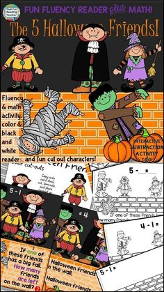 Halloween Subtraction: Phrasing and Fluency Reader with Subtraction activity halloween educational Primary Teaching, Primary Classroom, Classroom Resources, Math Resources, Teaching Ideas, Early Math, Early Literacy, Early Reading, Subtraction Activities