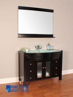 Photos Of  Modern Bathroom Vanity Set Single Tempered Glass Sink Wood Cabinet W Mirror