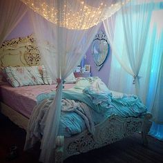 home accessory bedroom blackets princess vintage pillow idea canopy bed frame pastel bed frame curtains Fairy Bedroom, Mermaid Bedroom, Bedroom Decor, Bedroom Lighting, Bedroom Ideas, Bedroom Curtains, Dream Rooms, Dream Bedroom, Girls Bedroom