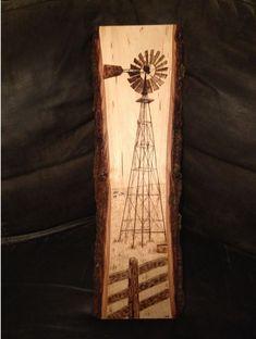 Windmill wood burnt art