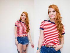 Vintage 1970s Shirt  Red & White Striped by dejavintageboutique