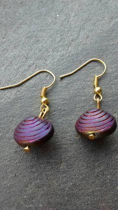 Purple Shell Earrings Purple Earrings Dangle by TwiggyPeasticks