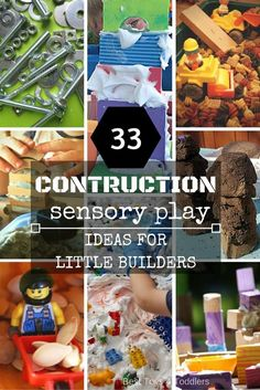 33 Construction Sensory Play Ideas for Little Builders - Best Toys 4 Toddlers 33 Construction Sensory Play Ideas for Little Builders - fun ideas that combine building and sensory If you love arts and crafts an individual will appreciate this website! Sensory Bins, Sensory Activities, Sensory Play, Learning Activities, Preschool Activities, Sensory Table, Baby Sensory, Summer Activities, Family Activities