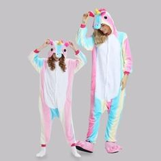 Trendy Unicorn Design Hooded Mommy and Me Onesie Pajamas Onesie Pajamas, Girls Pajamas, Pajamas Women, Mom Daughter Matching Outfits, Matching Family Outfits, Swag Outfits For Girls, Kids Outfits, Cute Group Halloween Costumes, Unicorn Outfit