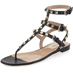 Valentino Rockstud Ankle-Wrap Flat Thong Sandal (3.255 BRL) ❤ liked on Polyvore featuring shoes, sandals, flats, nero, shoes sandals, flat leather sandals, flat pumps, leather thong sandals, ankle wrap flat sandals and stacked heel sandals
