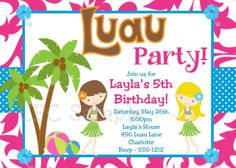 Free Printable Luau Party Invitations Kids
