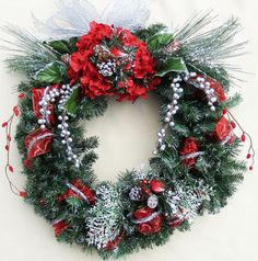Items similar to Made to Order Christmas Red Birds Wreath, Evergreen & Pincone Door Haning on Etsy Red Christmas, Christmas Stockings, Christmas Wreaths, Pinecone, Red Glitter, Red Ribbon, Evergreen, Decorative Items, Birds