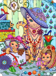 Original drawing by Marjorie Sarnat. Missy cat coloured by Alexis