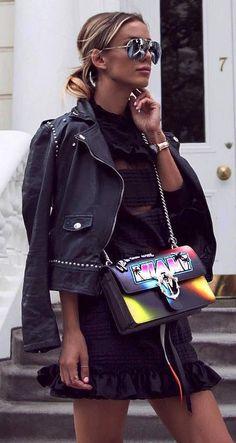 cool outfit idea_biker jacket + bag + black little dress