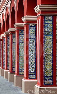 Arch Columns with Colorful tiles - Lima, Peru