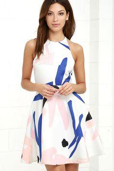 #AdoreWe #Lulus Lulus Elliatt Headway Ivory Print Skater Dress - AdoreWe.com