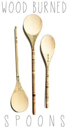 diy - wood burned spoons