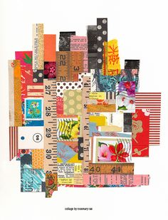 my day 196 collage (Lumière) :: stamps, tags, text, scrap + cut papers assembled + glued