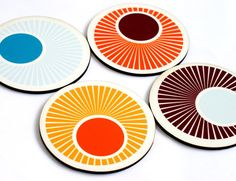 Coasters retro circles swirls orange pumpkin mustard citrine drink coasters christmas decor holiday gift table kitchen decor home and living on Etsy, $22.90