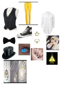 """""""Gravity Falles Bill Cypher cosplay"""" by skykittan360 on Polyvore featuring rag & bone, Converse, women's clothing, women's fashion, women, female, woman, misses and juniors"""